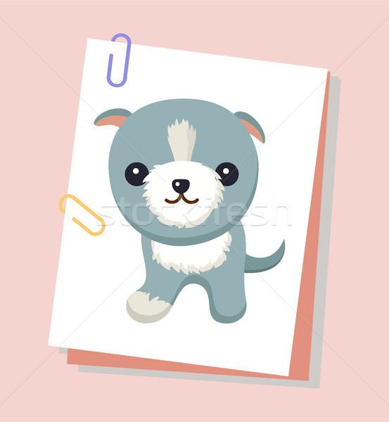 Psa krótki kłosie plakat domowych mały Zdjęcia stock © robuart