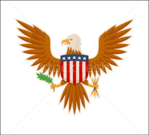 Eagle American National Mascot Animal Color Banner Stock photo © robuart