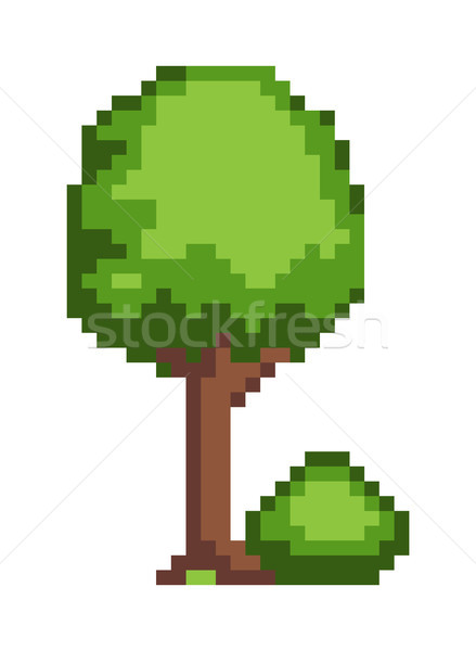 Photo stock: Arbre · Bush · pixel · style · isolé · blanche