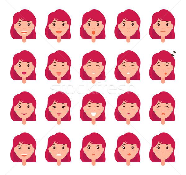 Nő érzelmek vektor lány jó rossz hangulat Stock fotó © robuart