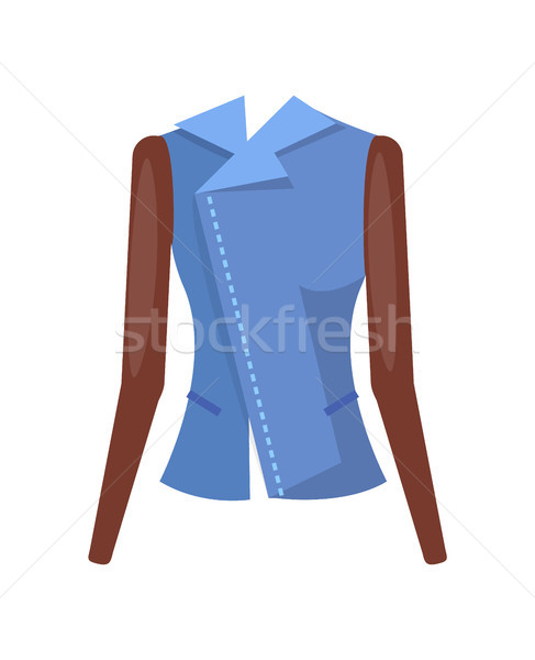 Stylish Female Denim Jacket with Leather Sleeves Stock photo © robuart