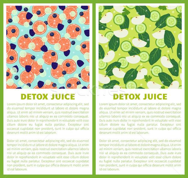 Detox Juice Poster Ingredients of Refreshing Drink Stock photo © robuart
