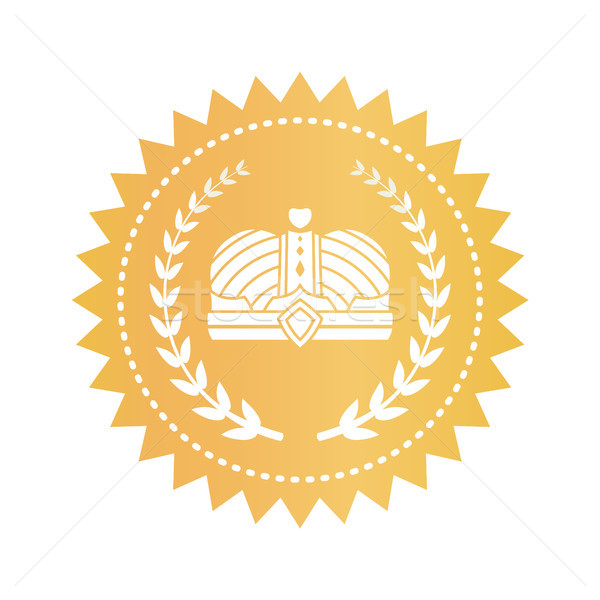 Gold Emblem with Kings Crown and Laurel Branches Stock photo © robuart