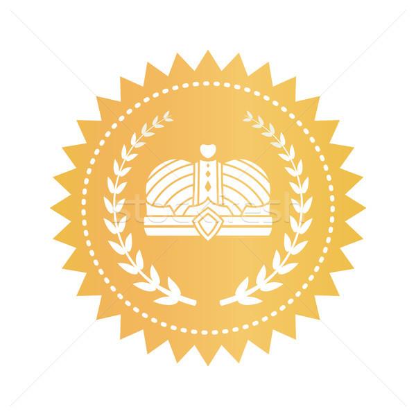 Arany embléma korona babér ágak jóváhagyás Stock fotó © robuart