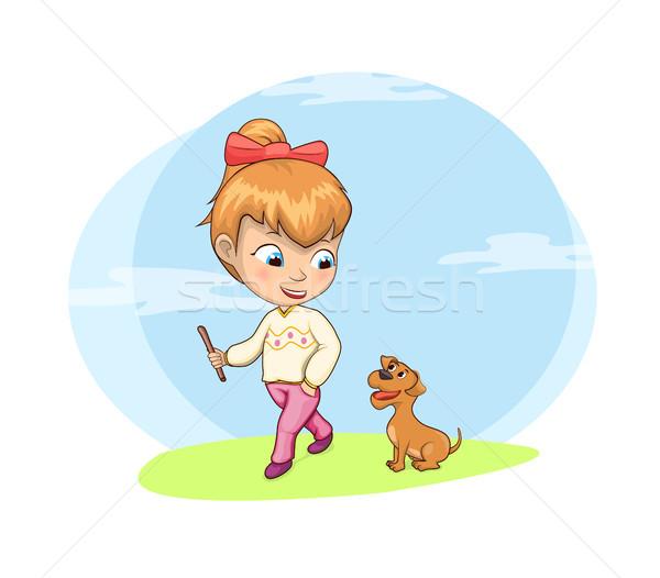 Sétál kutya tevékenység lány természetes felhők Stock fotó © robuart