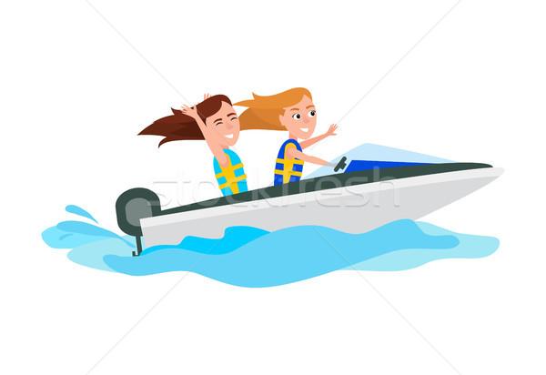 Spelevaren activiteit zomer meisjes leuk boot Stockfoto © robuart