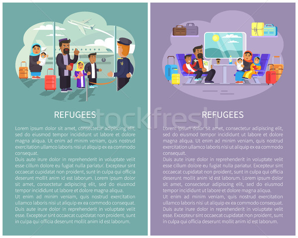 Refugee Banners Collection Vector Illustration Stock photo © robuart