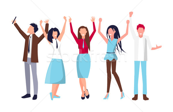People Raising Their Hands on Vector Illustration Stock photo © robuart