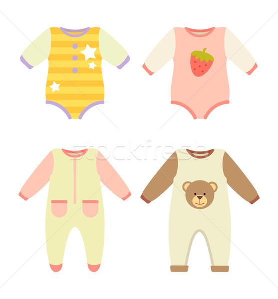 ストックフォト: 赤ちゃん · 服 · セット · コレクション · 星 · イチゴ