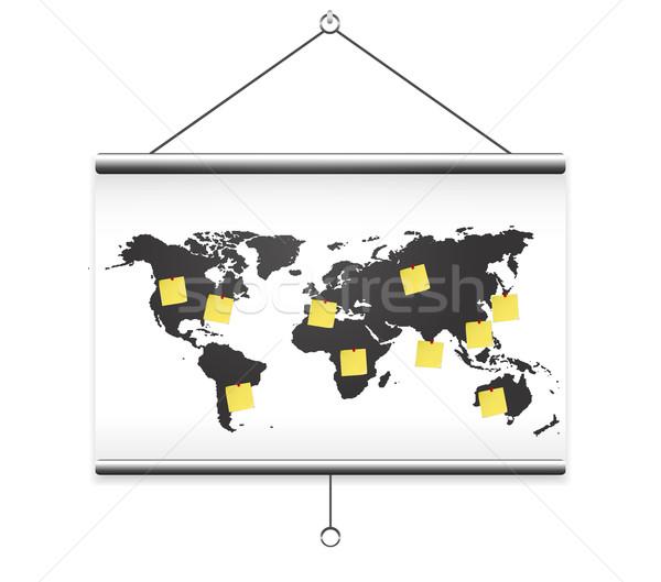 Proiettore schermo mappa mondo nota istruzione Foto d'archivio © robuart