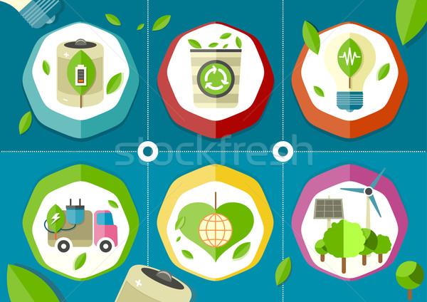 Eco icons green battery car Stock photo © robuart
