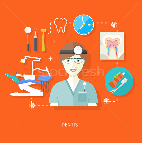 Dentist in uniform with instrument on workplace Stock photo © robuart