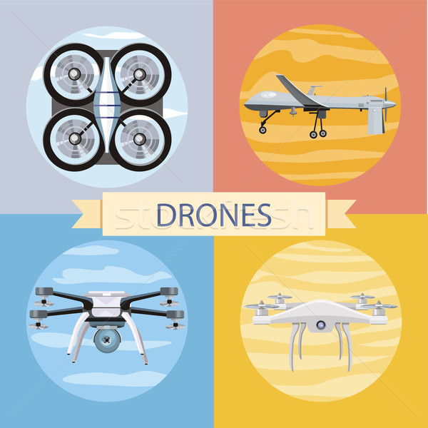 Set of different quadrocopters icons Stock photo © robuart