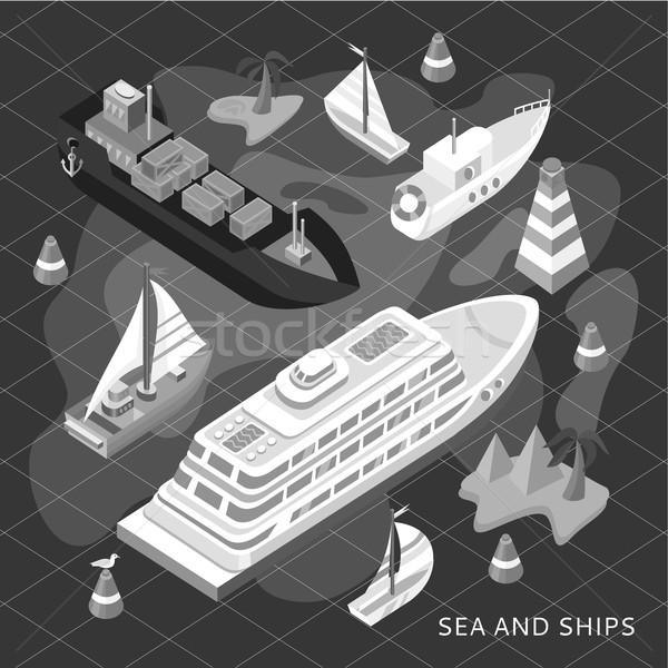 Stockfoto: Isometrische · ingesteld · schepen · zee · vervoer · 3D