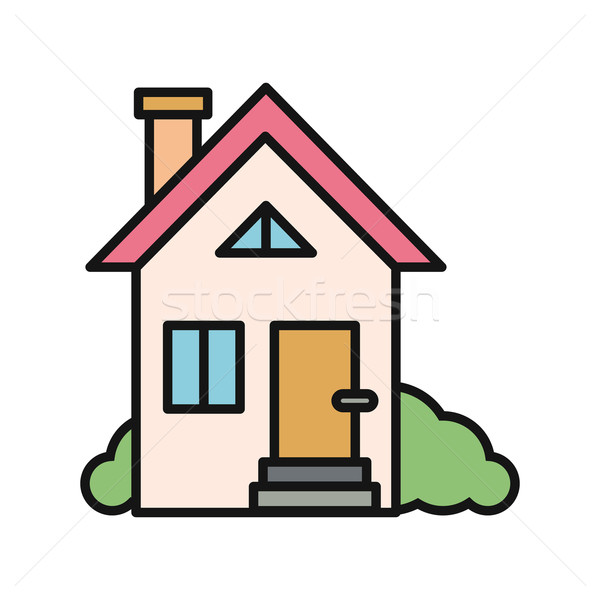 Maison icône blanche immobilier faible isolé Photo stock © robuart