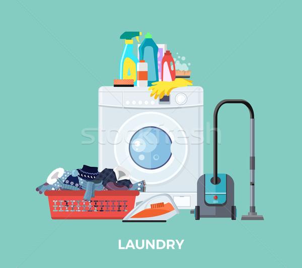Laundry Washing Machine, Vacuum and Detergents Stock photo © robuart