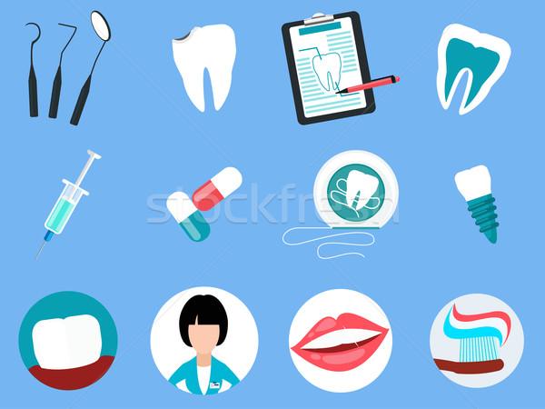 Stock photo: Dental Treatment Design Flat Concept