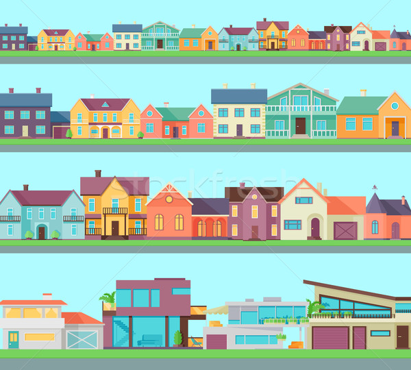 Сток-фото: большой · набор · домах · зданий · архитектура · коттедж