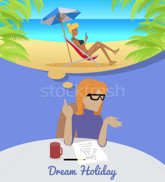 Woman Sitting and Dreaming About Rest Holiday. Stock photo © robuart