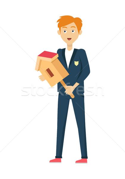 Iskolás fiú izolált karakter kék kabát nadrág Stock fotó © robuart