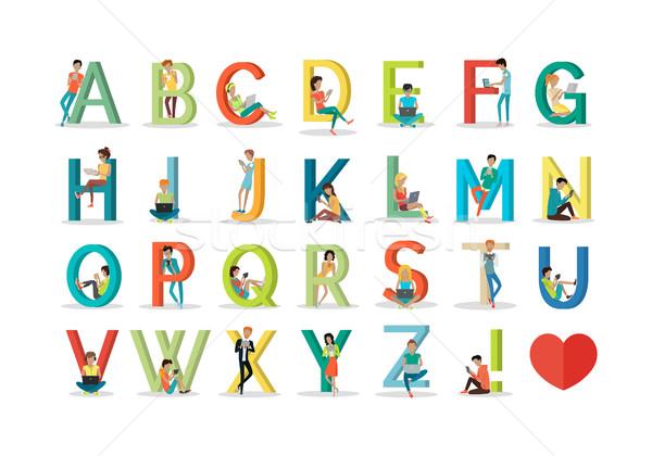 English Alphabet with Humans Use Modern Technology Stock photo © robuart