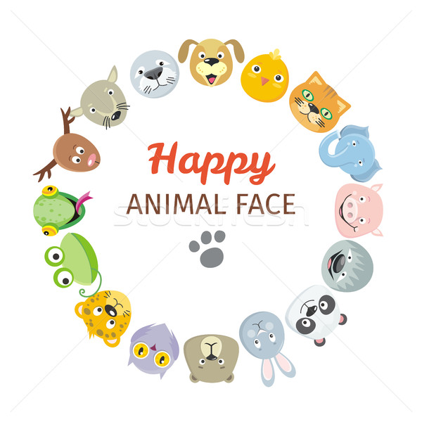 Collection of Cute Animal Faces. Animal Head Icons Stock photo © robuart