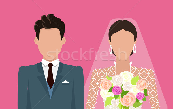 Wedding Day Web Banner. Newlyweds Couple Design Stock photo © robuart