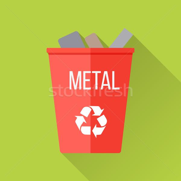 Сток-фото: красный · Recycle · мусора · металл · символ