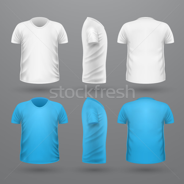 Foto stock: Camiseta · establecer · frente · lado · vista · posterior · vector