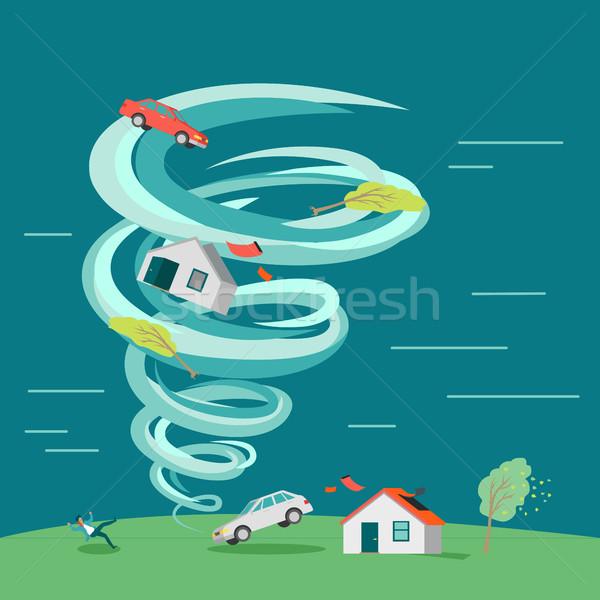 Natural Disaster Flat Design Vector Illustration Stock photo © robuart