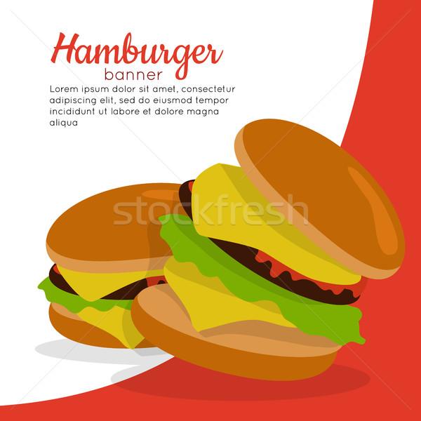 Banner Hamburger Fleisch ungesundes Essen Salat Käse Stock foto © robuart