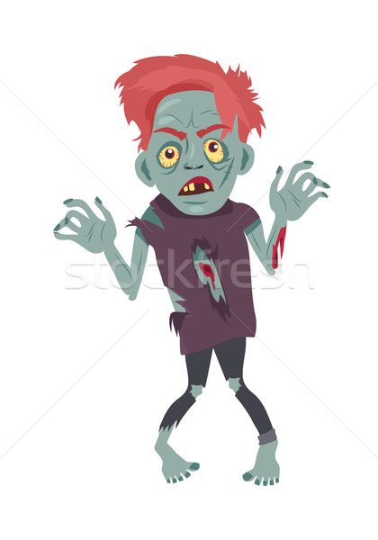 Scary Zombie Man Walking Flat Vector Illustration Stock photo © robuart