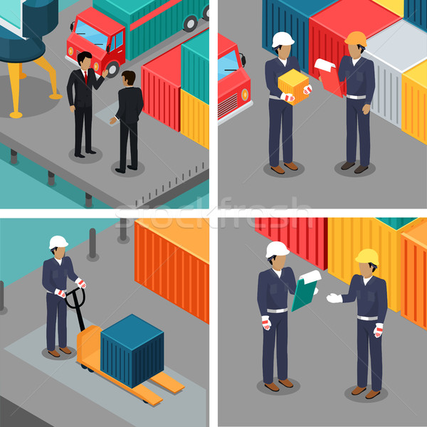 Set of Dock Workers at Warehouse. Vector Stock photo © robuart