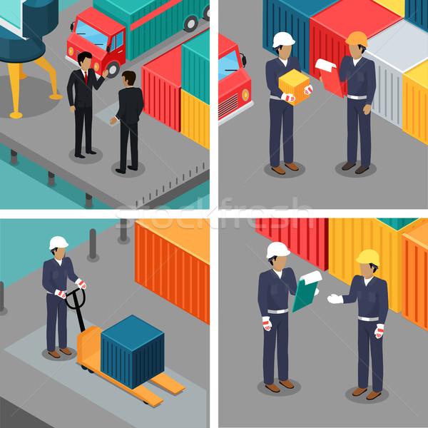 セット ドック 労働 倉庫 ベクトル 貨物 ストックフォト © robuart