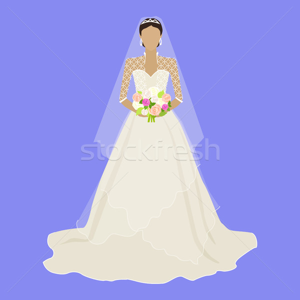 Fashion Bride in Luxury Dress Isolated Female Stock photo © robuart