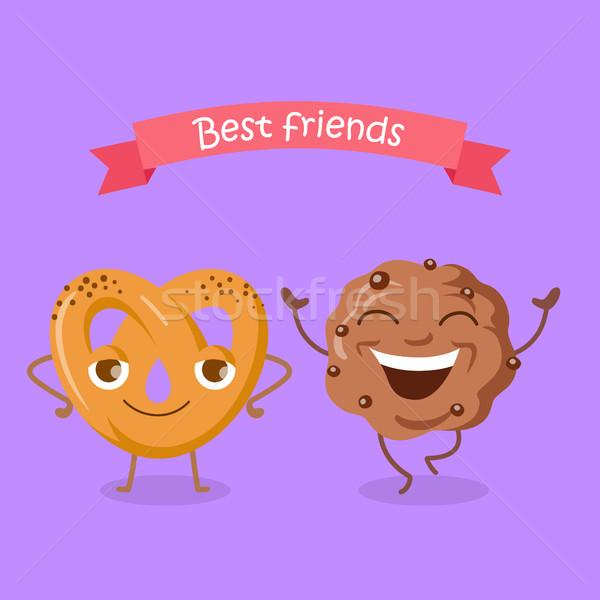 Лучшие друзья мягкой кренделек шоколадом печенье счастливым Сток-фото © robuart