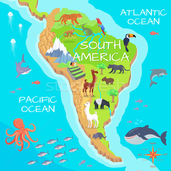 South America Mainland Cartoon Fauna Species  Stock photo © robuart