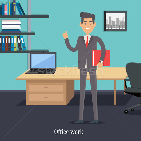 Office Worker in Cabinet. Male Character Cartoon Stock photo © robuart