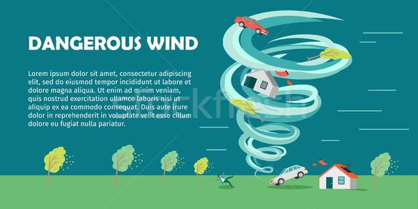 Tehlikeli rüzgâr dizayn vektör afiş stil Stok fotoğraf © robuart
