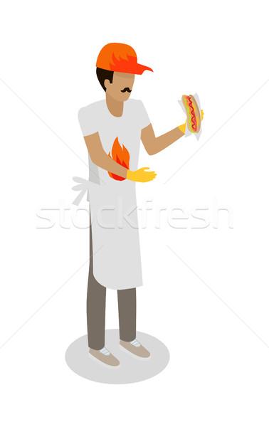Hot Dog Seller with Fresh Cooked Hotdog Isolated Stock photo © robuart