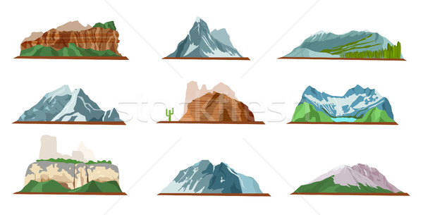 Mountain Icons Set. Various Types of Pile Hills Stock photo © robuart