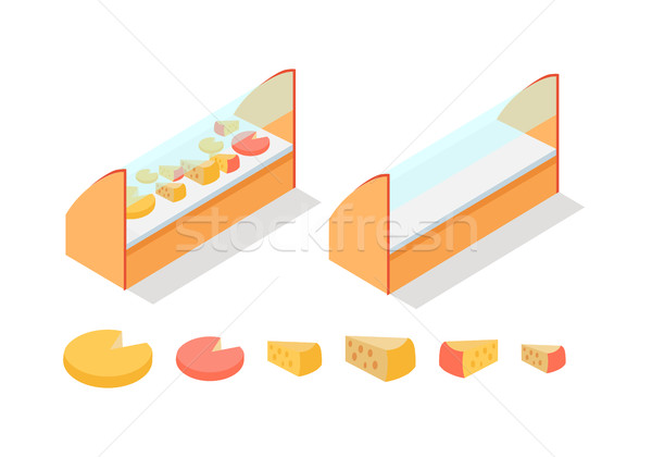 Cheese in Groceries Showcase Isometric Vector Stock photo © robuart