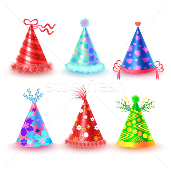 Stock photo: Decorated Colorful Party Hats Vector Icons Set