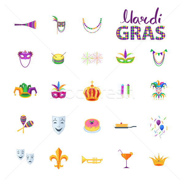 Mardi Gras Set of Carnival Decorative Elements Stock photo © robuart