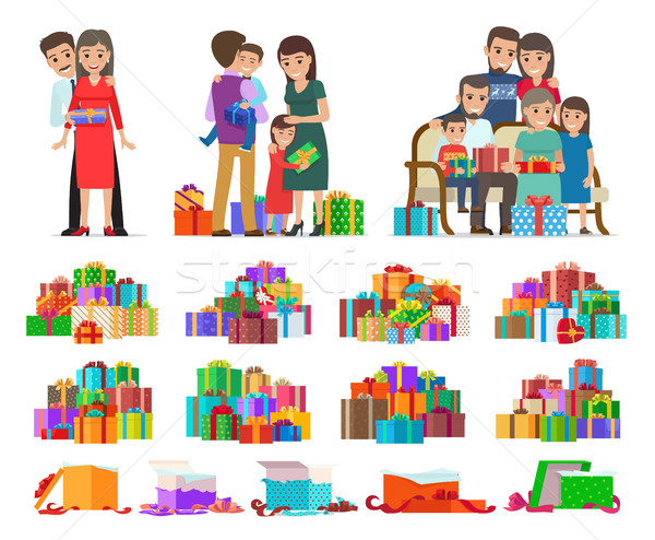 Set of People Giving Present Boxes and Gifts. Stock photo © robuart