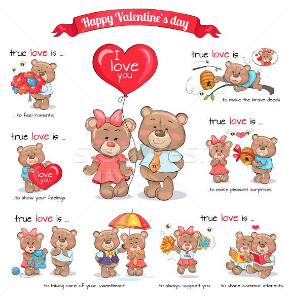 Two Teddy Bears Celebrate Happy Valentine's Day Stock photo © robuart