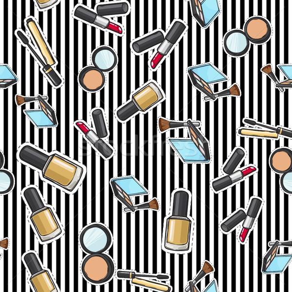 Végtelen minta körömlakk por rúzs smink termékek Stock fotó © robuart
