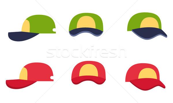 Baseballsapka gyűjtemény elöl hát oldalnézet fehér Stock fotó © robuart