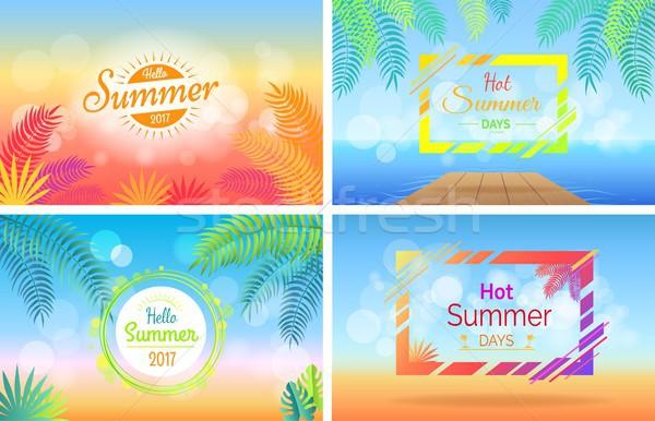 ハロー ホット 夏の日 ポスター セット ぼやけた ストックフォト © robuart