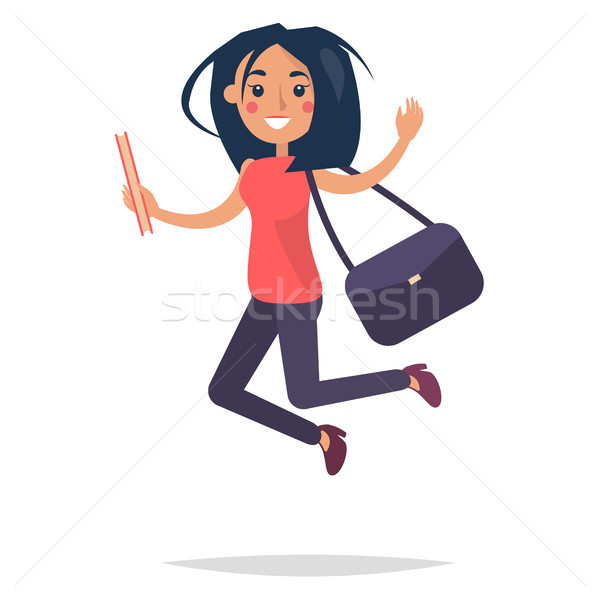 Young Bouncing Girl Student Flat and Shadow Theme Stock photo © robuart